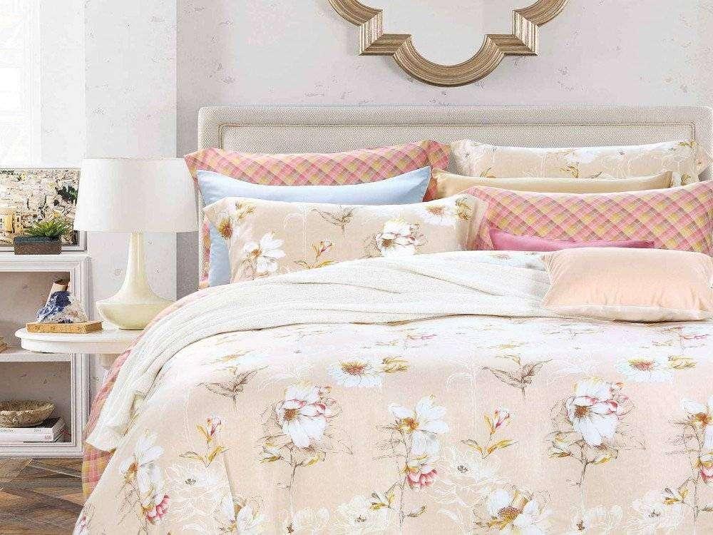 bf9283845eb3 Постельное белье 2-х спальное (евро) из тенсела с цветами купить ...